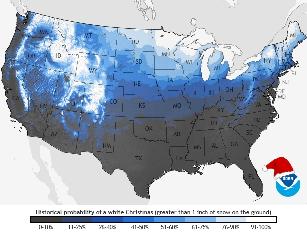 White Christmas Probability Map
