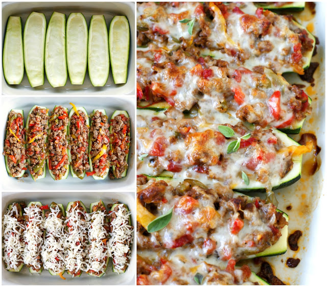 sausage-pepper-and-onion-zucchini-boats-collage
